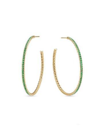 David Yurman emerald-embellished Pavé Hoop Earrings - Farfetch