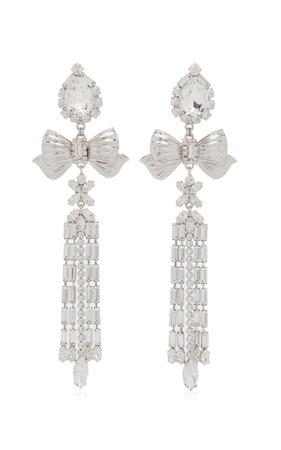 Crystal Fringe Bow Statement Earrings By Alessandra Rich | Moda Operandi