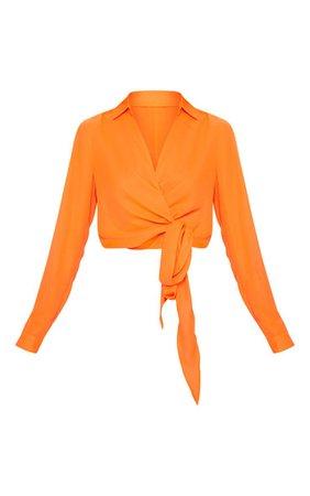 Neon Orange Wrap Front Tie Side Blouse | Tops | PrettyLittleThing