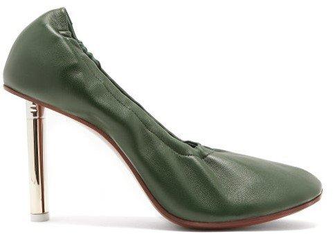 Lighter-heel Leather Ballerina Pumps - Dark Green