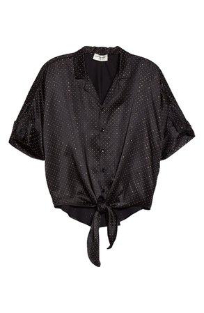 Saint Laurent Studded Silk Camp Shirt   Nordstrom