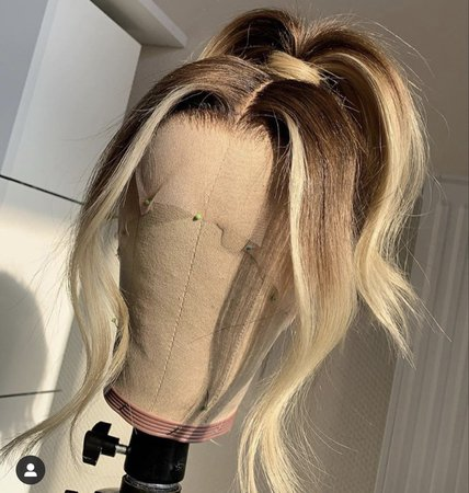 blonde and brown ponytail lace wig