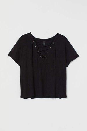 H&M+ Laced-detail Top - Black