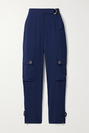 Lianna Belted Woven Tapered Cargo Pants - Navy