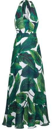Charlie Printed Silk Crepe De Chine Halterneck Maxi Dress