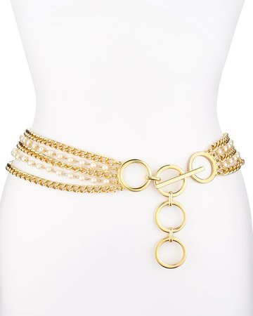 Suzi Roher 5-Strand Chain Belt with Faux Pearls