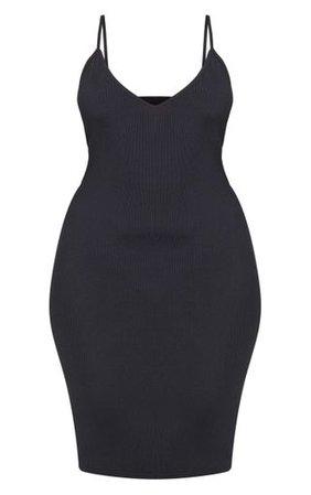 Plus Black Ribbed Plunge Midi Dress | PrettyLittleThing