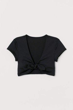 Tie-front Bikini Top - Black
