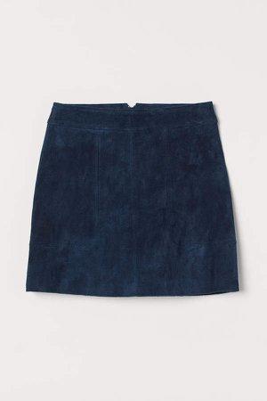 Short Suede Skirt - Blue