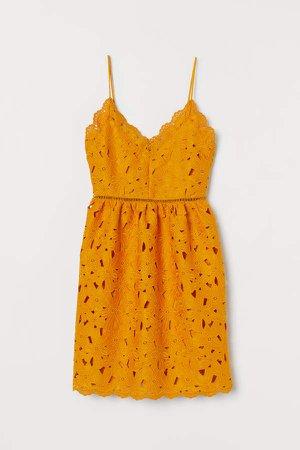 Lace V-neck Dress - Yellow