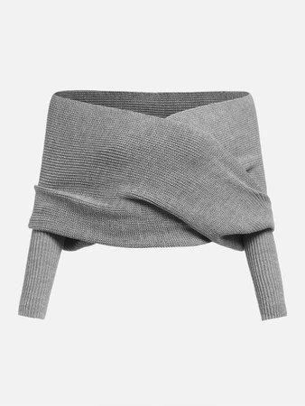 Cross Wrap Off Shoulder Crop Sweater | ROMWE