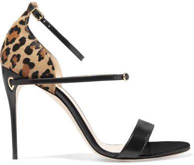Jennifer Chamandi - Rolando Leopard-print Calf Hair And Leather Sandals - Black