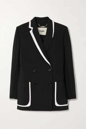 Double-breasted Crepe Blazer - Navy