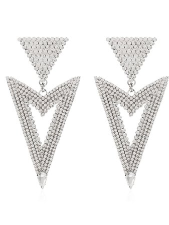 Alessandra Rich Triangle Cutout Crystal Earrings Ss20 | Farfetch.com