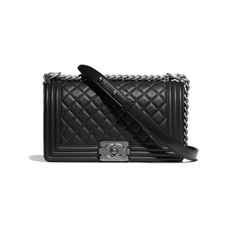 CHANEL Calfskin Ruthenium-Finish Metal Black BOY CHANEL Handbag