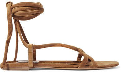 Reeves Suede And Croc-effect Leather Sandals