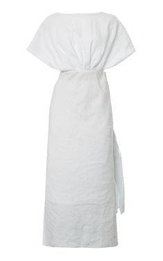 Drape-Detailed Linen Midi Dress by Miu Miu