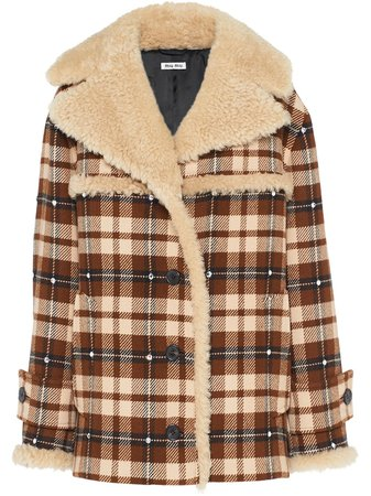 Miu Miu Check button-front Coat - Farfetch