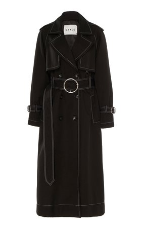 Contrast Stitch Hooded Trench Coat