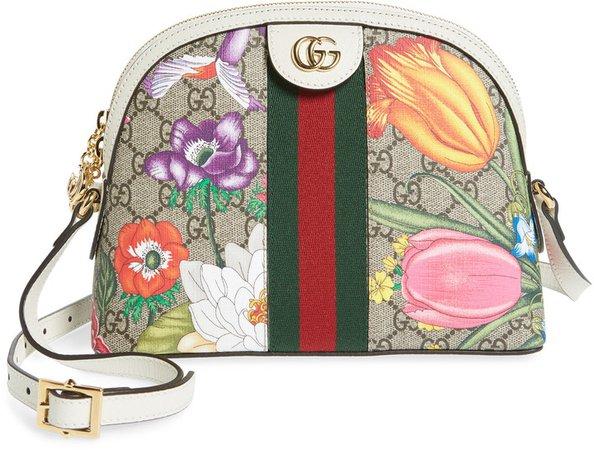Small Ophidia Floral GG Supreme Shoulder Bag