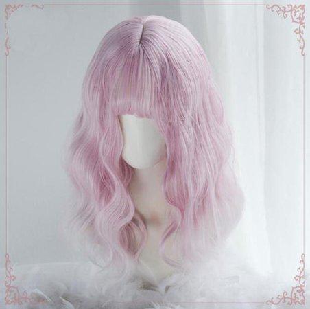Women Girls Medium Size Harajuku Light Blue Mixed Pink Sweet Lolita Wig Super Natural Club Bob Costume Party Daily Hair with Wig Cap