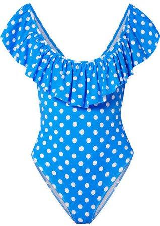 Ari Ruffled Polka-dot Swimsuit - Blue