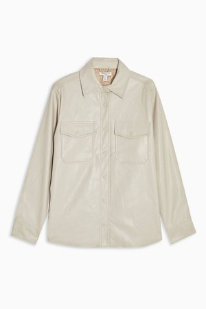 Taupe Faux Leather Shirt | Topshop