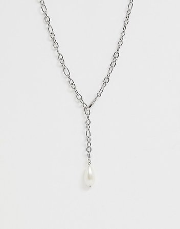 ASOS DESIGN lariat necklace in hardware chain with faux pearl in silver tone | ASOS