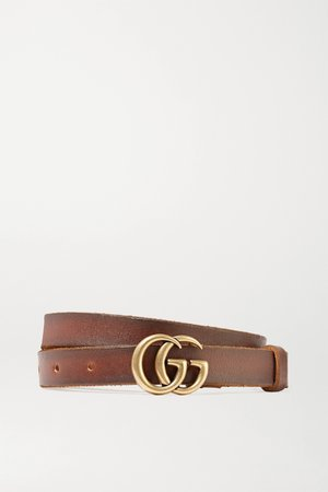 Brown Leather belt   Gucci   NET-A-PORTER