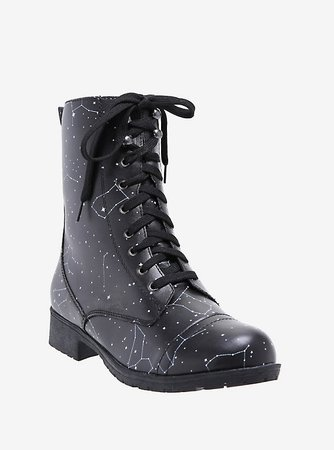 Constellation Print Combat Boots