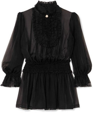 Ruffled Silk-blend Chiffon Blouse - Black