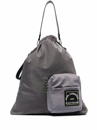 Karl Lagerfeld logo-pocket drawstring backpack - FARFETCH