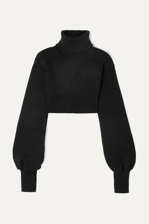 Black Cropped ribbed-knit turtleneck sweater | Orseund Iris | NET-A-PORTER