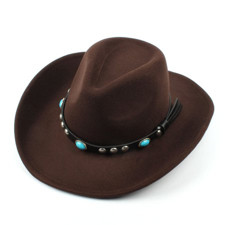 Mens Women Woolen Western Cowboy Hat Vintage Wide Brim Cowgirl Jazz Cap Horse Riding Hat Cheap - NewChic Mobile