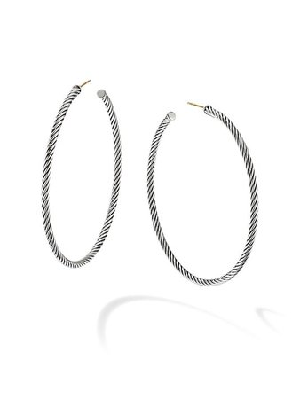 David Yurman Sculpted Cable Hoop Earrings | SaksFifthAvenue