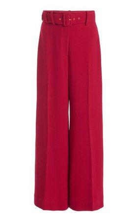 Jana Belted Stretch-Crepe Cropped Wide-Leg Trousers By Emilia Wickstead   Moda Operandi