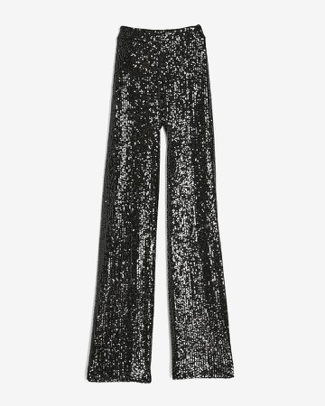 High Waisted Sequin Wide Leg Pant