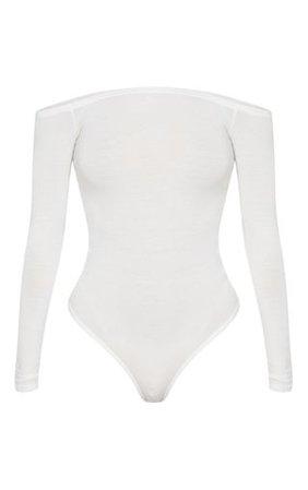 Basic Cream Bardot Bodysuit | Bodysuits | PrettyLittleThing