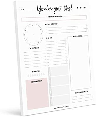 Amazon.com: Bliss Collections Daily Planner, 8.5 x 11 Tear Off Pad with 50 Undated Sheets - You've Got This Motivational Notepad, Meal Planner, To Do List, Productivity Tracker, Calendar, Organizer, Scheduler: Kitchen & Dining