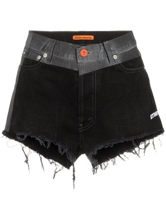Black Heron Preston Contrast-Waistband Denim Shorts | Farfetch.com