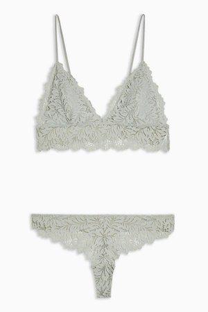 Sage Leaf Lace Underwear Set | Topshop