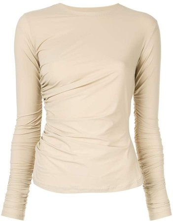 Irene ruched long-sleeved T-shirt