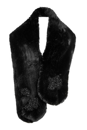Embellished Faux Fur Scarf Gr. One Size