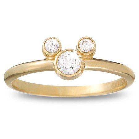 Diamond Mickey Mouse Petite Icon Ring - 14K Yellow Gold | shopDisney