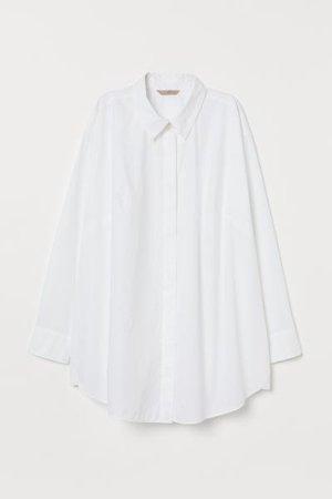 H&M+ Oversized Cotton Shirt - White - Ladies | H&M US