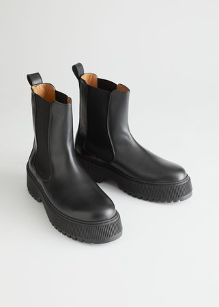 Chunky Leather Chelsea Boots - Black - Chelseaboots - & Other Stories