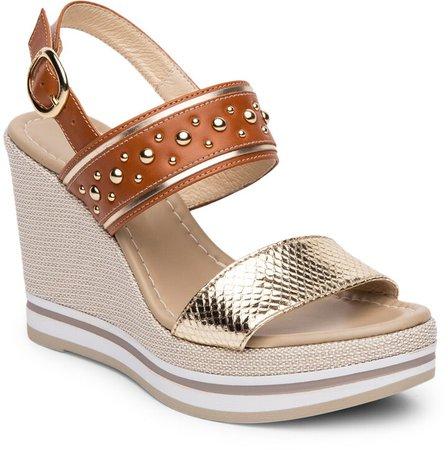 Metallic Platform Wedge Sandal