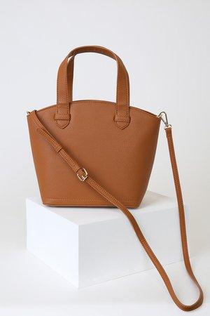 Chic Cognac Bag - Bowler Bag - Vegan Leather Handbag