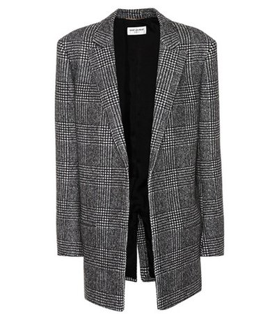 Glen plaid wool-blend jacket