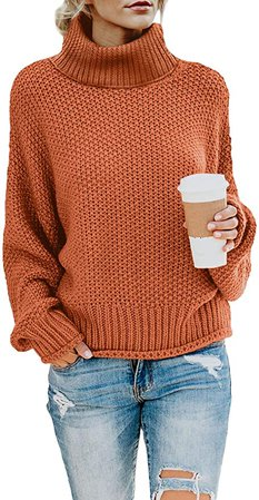 Amazon.com: Asvivid Womens Chunky Cowl Turtle Neck Oversized Sweater Tops Autumn Juniors Long Sleeve Knitted Pullovers XL Orange: Clothing